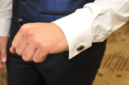 cuff link: button, shirt and cuffs, cuff link, Stock Photo