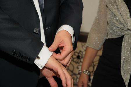 wrist cuffs: attire businessman, cuff-link, Stock Photo