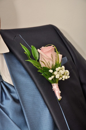 boutonniere: GROOM boutonniere, Stock Photo