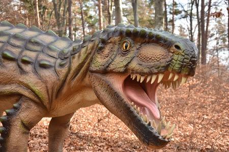 Dinosaur head in Dino park ,Rasnov, Romania Editorial