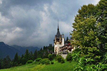 summer view of peles castle museum, sinaia, romania