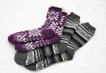 pair of winter wool socks with a pattern. skid socks, Stock Photo