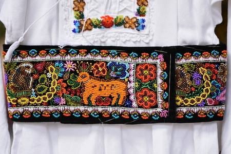 Detail of traditional Romanian folk costume from ARDEAL area, Romania.