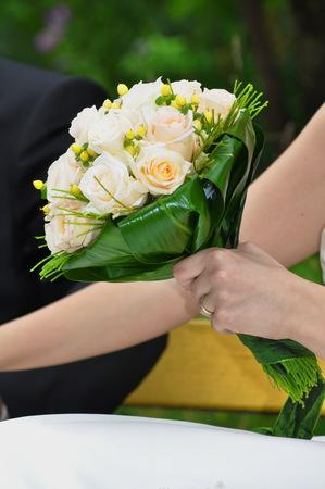 Wedding bridal bouquet of white roses