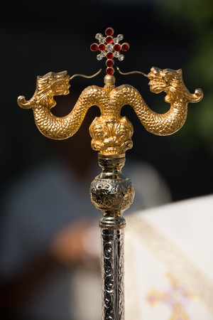 romanian Orthodox archbishops crosier, with serpents representing the staff of Moses