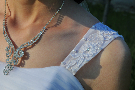 elegant necklace on brides neck