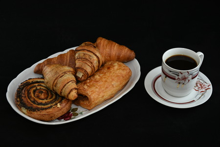 croissant with chocolate and coffee Stock Photo