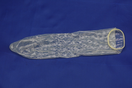 Condom textured on blue background