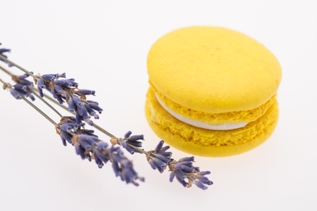 Yellow Macaroons and lavender isolated on white
