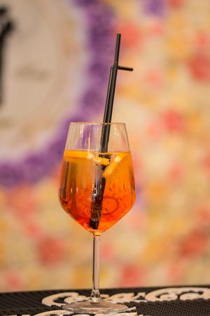 orange cocktail at wedding