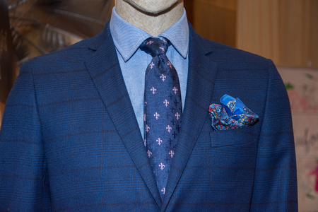 Classic suit, shirt and tie, close-up