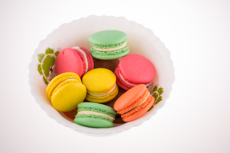 Collection of brightly colored French macarons Stock Photo