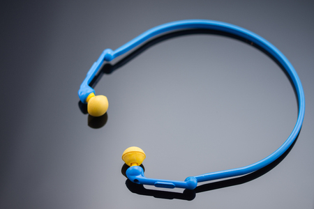 Blue Protective earplug,ear headphones, Foto de archivo