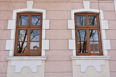 old window, old architecture in Bistrita, ROMANIA