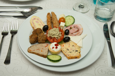 Cold appetizer at wedding in Romania,aperitif,