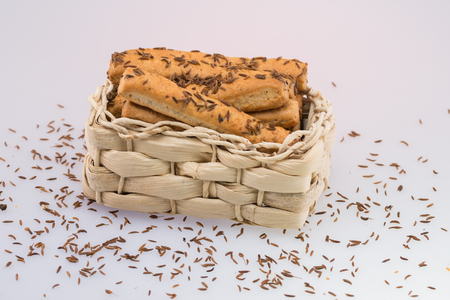Crackers ,Cheese Sticks With Caraway Seed Stock Photo