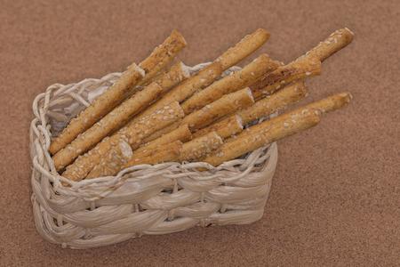 Grissini Breadsticks,  Sesame-Covered Bread Sticks , Stock Photo