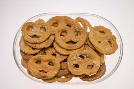 Pretzels crackers  with wine,crispy goodies with lemon and pepper