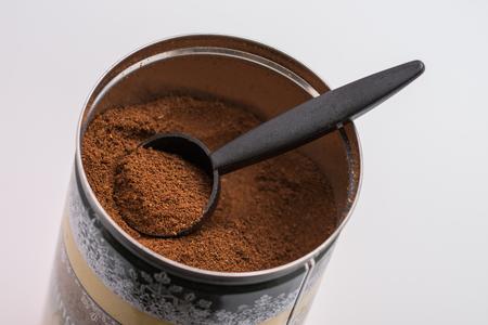 Ground coffee in a metal box Stok Fotoğraf