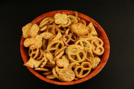 bowl with delicious mini pretzels,bagels