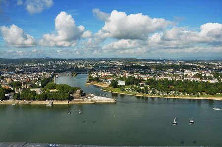 View from Fortress Ehrenbreitstein in Koblenz- Germany -Deutsches Ecke (German Corner) -2015
