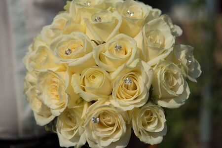 Detail of bride's roses bouquet