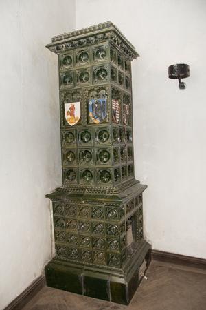 Green terracotta stove