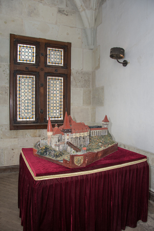 ROMANIA ,Hunedoara, Corvin Hunyadi Castle ,  2018, castle window and machete of the castle Editorial