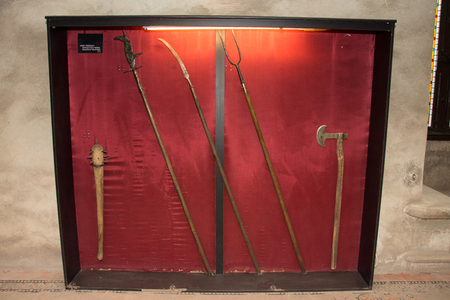 Medieval weapons exposed in the castle