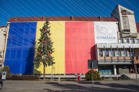 Romania National Day  - Bistrita December the 1st 2018,Romanian flags on county council building Sajtókép