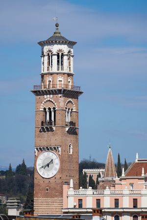 Verona, Italy: Torre dei Lamberti, march, 2019,view from amphitheater Arena di Verona Фото со стока