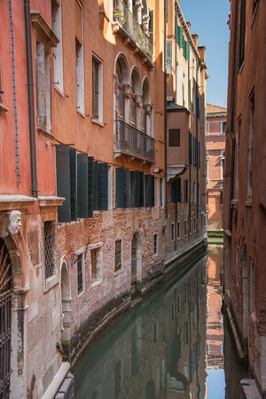 Venice canal ,narrow navigation routes in Venice, march, 2019