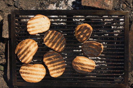 slices of fried bread on the grill