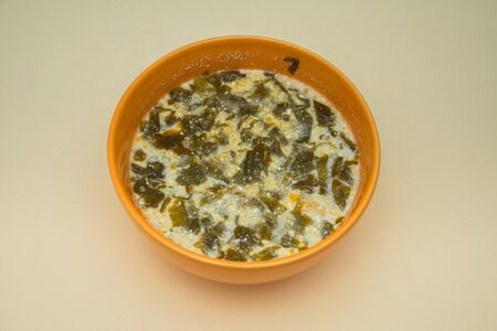 salad soup traditional in Romania,supa de salate