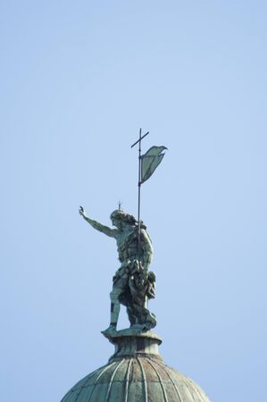 Statue at Top of Church di San Simeone Piccolo in Venice, Italy.,2019.MARCH 스톡 콘텐츠