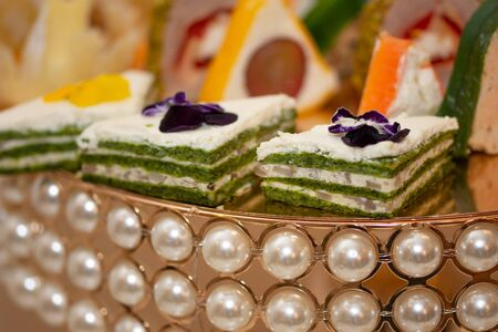 Luxury Hotel Restaurant cake,white and green layer cake