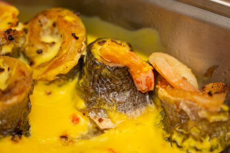 Poached perch with a shrimp sauce