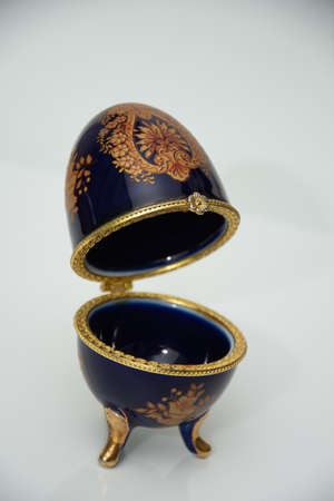 A blue replica ornate expensive Faberge egg,Easter eggs, Faberge egg