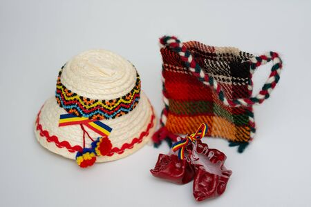 romanian traditional straw hat and popular, peasant bag,Maramures,ROMANIA Stock Photo