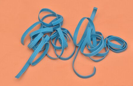 small pieces of blue elastic , Elastic band,detail