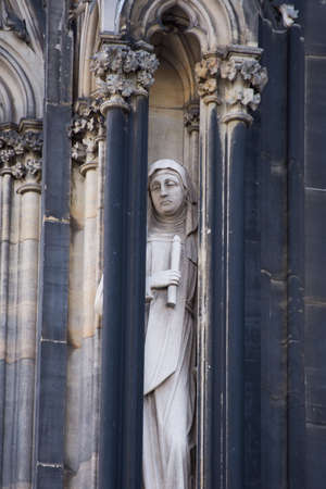 medieval statues cathedral in Cologne, Koln,Germany,2017