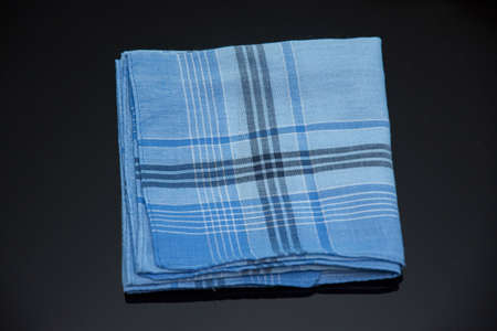 blue handkerchief with cherries lines on the white background