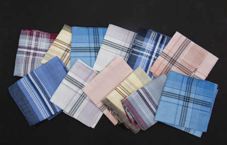12  Handkerchief isolated on the black  background Imagens