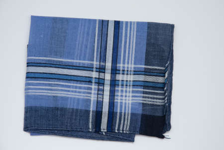 blue handkerchief with cherry lines on the white background