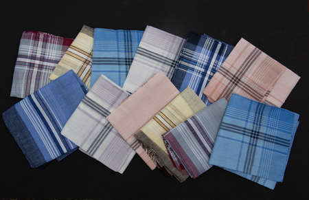 12 handkerchief with lines on the black  background
