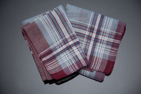 2 handkerchief with cherry lines on the black  background