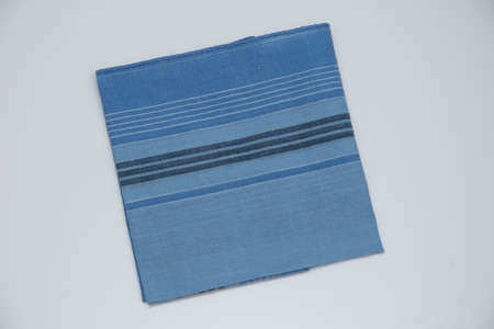 blue handkerchief with lines on the white  background