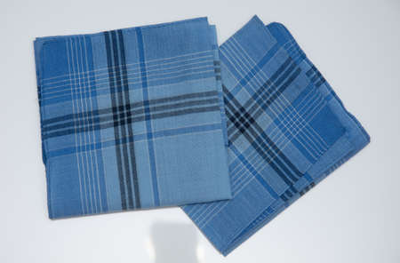 blue handkerchiefs with lines on the  white  background Imagens
