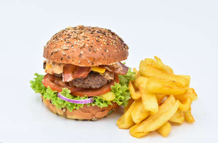 Tasty hamburger with french fries