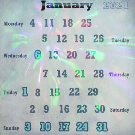 calendar page for January 2021 스톡 콘텐츠